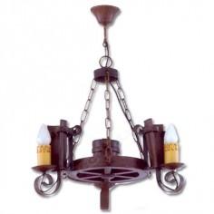 Lámpara rustica de forja con tres luces color teja