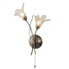Aplique clásico Lily dos luces metal cuero tulipas cristal opal y ámbar