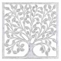 Adorno pared madera tallada Árbol en blanco rozado