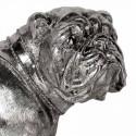 Figura decorativa perro Bulldog plateado
