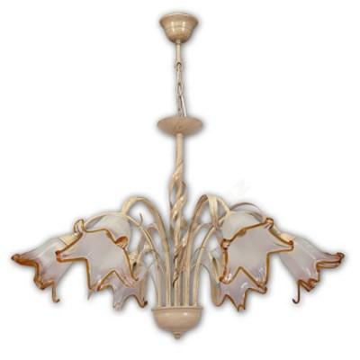 L mpara estilo r stico seis luces crema tulipas cristal - Lamparas estilo rustico ...