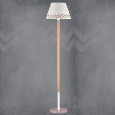 Lámpara juvenil de suelo Zig-Zag en blanco y visón con madera