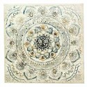 Cuadro decoración Mandala mosaico al óleo tonos crema y azules