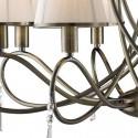 Lámpara clásica techo Simplicity en cuero ocho luces con cristales