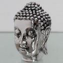 Cabeza de Buda decorativa plateada con brillo