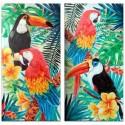 Set dos lienzos tropicales multicolor loros y tucanes con hojas y flores