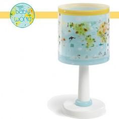 Lámpara sobremesa infantil Baby World mapa con animales