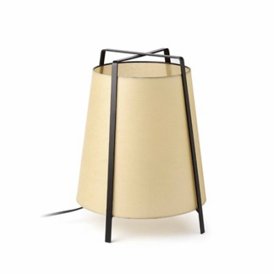 Lámpara de mesa Akane en metal pantalla beige papiro