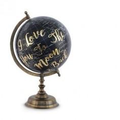Bola mundo decorativa en negro con letras doradas y metal cuero