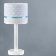 Lámpara de mesa infantil Nubes pantalla textil blanco y azul
