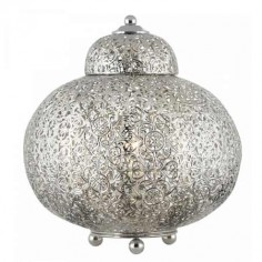 Sobremesa estilo árabe Fretwork metal calado níquel satinado