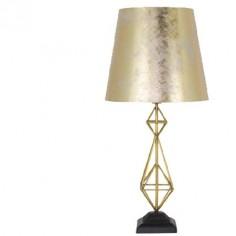 Lámpara sobremesa Augusta metal dorado con pantalla pan de oro