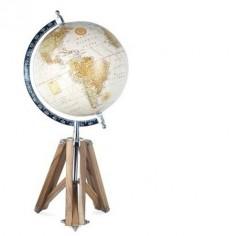 Globo terráqueo decorativo tono crema con trípode en madera