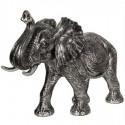 Elefante grande decoración acabado tono plata envejecida