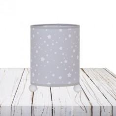 Lámpara infantil de sobremesa Poseidón en gris con estrellas blancas