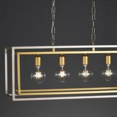 Lámpara farol Caliope cuatro luces metal plata envejecida y oro