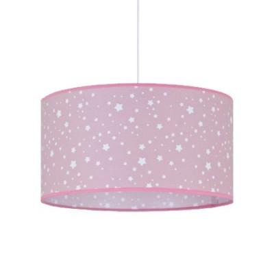 Lámpara colgante infantil Poseidón rosa con estrellas