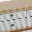 Mesa televisión Blue madera natural y tallado ondas con seis cajones