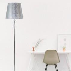 Lámpara de pie Nicosia estilo clásico metal cromo con pantalla plateada