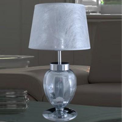 Lámpara sobremesa clásica cuerpo cristal plata pantalla gris