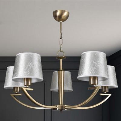 Lámpara clásica de techo cinco luces en cuero con pantallas terciopelo