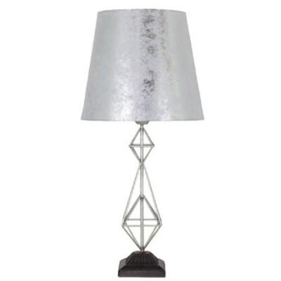 Lámpara de mesa Augusta metal plata con pantalla plateada
