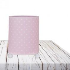 Lámpara infantil de sobremesa Afrodita rosa con estrellas blancas