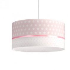 Lámpara infantil colgante Estrellas textil blanco y rosa
