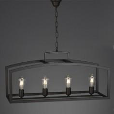 Lámpara rústica Eirene cuatro luces en metal negro