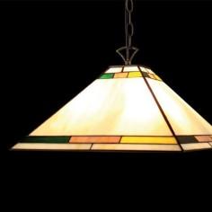 Colgante Tiffany forja marrón cristales crema, verde y amarillo
