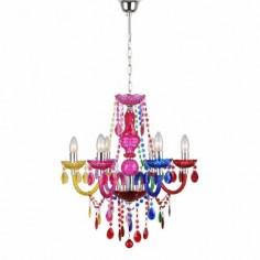 Chandelier seis luces multicolor con lágrimas colgantes y abalorios