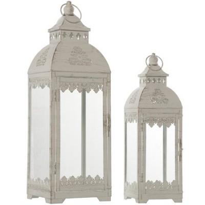 Set dos portavelas vintage metal blanco rozado y cristal