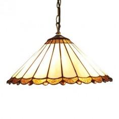 Lámpara Tiffany colgante tulipa cristales crema, ocre y marrón