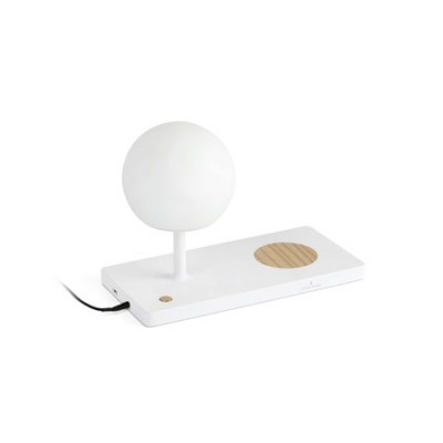 Sobremesa Niko LED blanco regulable con cargador inalámbrico y USB