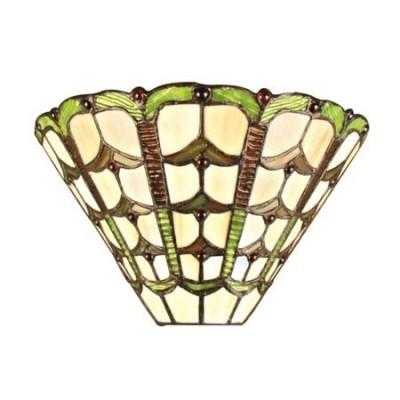 Aplique pared Tiffany clásico cristales crema, verde y marrón
