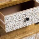 Aparador Nara madera natural y tallado blanco tres cajones y dos puertas