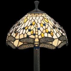 Lámpara sobremesa Libélula tulipa cristal Tiffany en crema, amarillo y azul