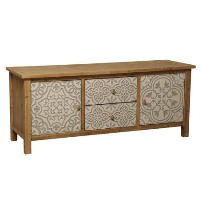 Mesa TV madera natural dos cajones y dos puertas tallados