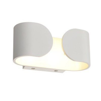 Aplique de pared LED moderno blanco diseño curvo rectangular