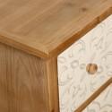 Cómoda madera natural seis cajones tallado árabe