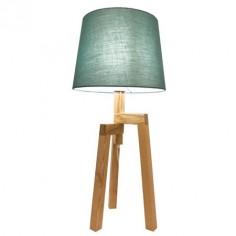 Lámpara sobremesa madera natural con pantalla textil turquesa