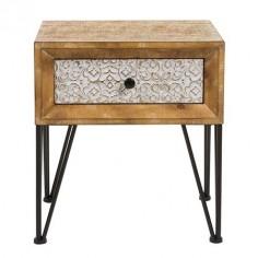 Mesa de noche Nara madera un cajón tallado blanco patas metal negro