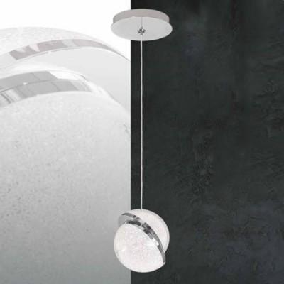 Lámpara colgante LED Mónaco en cromo y cristal una luz