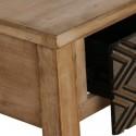 Recibidor madera natural dos cajones con tallado rombos