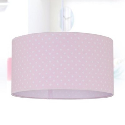 Colgante infantil Afrodita pantalla textil rosa con estrellas blancas