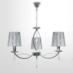 Lámpara Larnaka clásica cromo tres luces pantallas plateadas