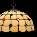 Lámpara cristal Tiffany colgante en crema y multicolor