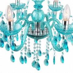 Chandelier seis luces acrílico azul y metal cromo