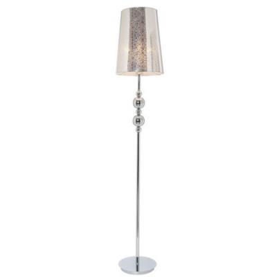 Lámpara de pie metal cromo con pantalla alta y bolas decorativas