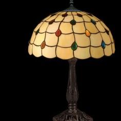 Lámpara de mesa Tiffany tulipa cristales en crema y multicolor